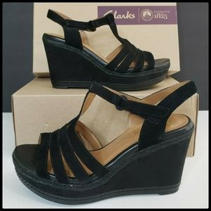 Clark Leather Black Sandal Wedge Size 10